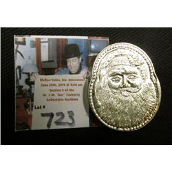 """1 Troy Ounce Merry Christmas .999 Fine Silver"", disigned in the shape of Santa Claus' Head and depi"