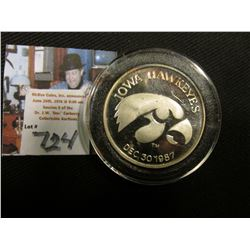 """Iowa Hawkeyes Dec. 30 1987"", ""San Diego, California/Sea World/Holiday/Bowl/1 Troy Ounce .999 Fine S"