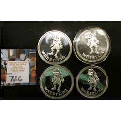 "(4) ""Wrestling"" depicts Herkey Hawk, ""The University of Iowa/Hawkeyes/One Troy Ounce .999 Fine Silve"