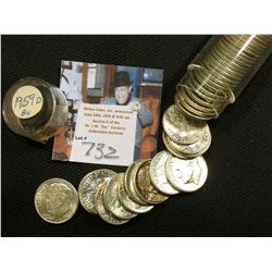 1959 D Original BU roll of Roosevelt Dimes stored in a plastic tube. Super toned end coins. (50 pcs.