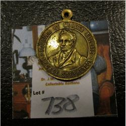 "Brass Pendant ""Founder of Modern Railways George Stephenson"", ""Commem. Medallion Railway Centenary 1"