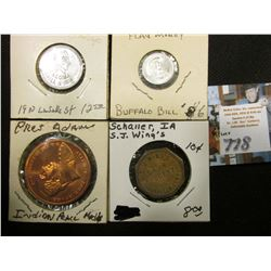 (4) Scarce pieces of exonumia:  Tacoma Grill & Inn  depicts Indian Chief,  Good For/5c/In Trade ;  N