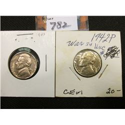 1942 P Type One & Type Two Jefferson Nickels, Gem BU.