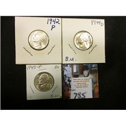 1942 P Type Two (Silver) Gem BU, 44 D (Silver) Gem BU, & 45 P (Silver) Gem BU Jefferson Nickels.