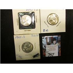 1942 P Type Two (Silver) Gem BU, 44 D (Silver) Gem BU, & 45 S (Silver) Gem BU Jefferson Nickels.