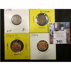 1911 P VF, 31 D EF, 42 D BU, & 44 P BU Lincoln Cents.