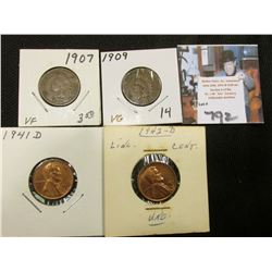 1907 VF, 09 VG Indian Head Cents; 41 D AU, & 42 D Unc Lincoln Cents.