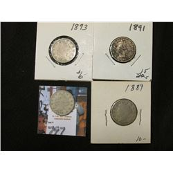 1889, 91, 93, & 98 Liberty Nickels. AG-VG.