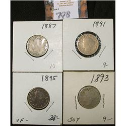 1887, 91, 93, & 95 Liberty Nickels. AG-Fine.