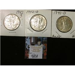 1941 D, 42 D, & 42 S Walking Liberty Half Dollars, all EF to AU.