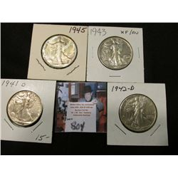 1941 D, 42 D, 43 P, & 45 P Walking Liberty Half Dollars, all EF to AU.