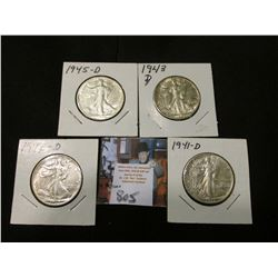 1941 D, 42 D, 43 D, & 45 D Walking Liberty Half Dollars, all EF to AU.