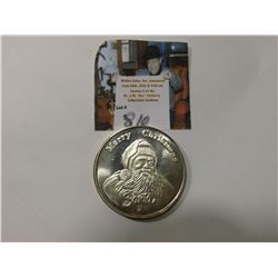 """Merry Christmas/From/Santa"", One Troy Ounce .999 Fine Silver Medallion, BU."