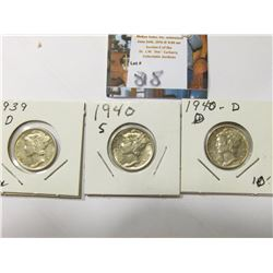 1939 D, 40 D, & S  Mercury Dimes, AU to Uncirculated.