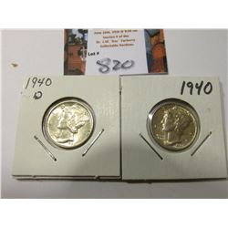 1940 P & D Mercury Dimes, Brilliant Uncirculated.
