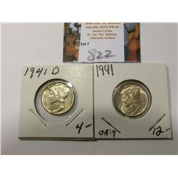 1941 P & D Mercury Dimes, AU to Uncirculated.