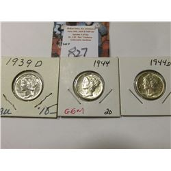 1939 D, 44 P, & D Mercury Dimes, AU to Uncirculated.