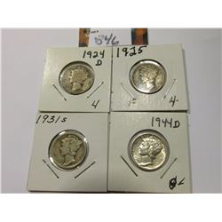 1924 D, 25 P, 31 S, & 44 D Mercury Dimes, grades up to AU.