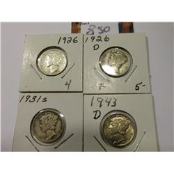 1926 P, D, 31 S, & 43 D Mercury Dimes, grades up to AU.