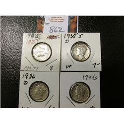 1925 P, 35 D, 36 D, & 44 D Mercury Dimes, all EF to AU.
