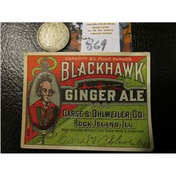 "1883 NC Liberty Nickel, EF & an Antique ""Blackhawk Ginger Ale…Rock Island, Ill."" Bottle label."
