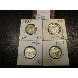 1937 P, 38 P, 43 D, & 44 P Mercury Dimes, all EF to AU.