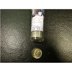 1957 P Solid date roll of Brilliant Uncirculated Roosevelt Dimes in a plastic tube.
