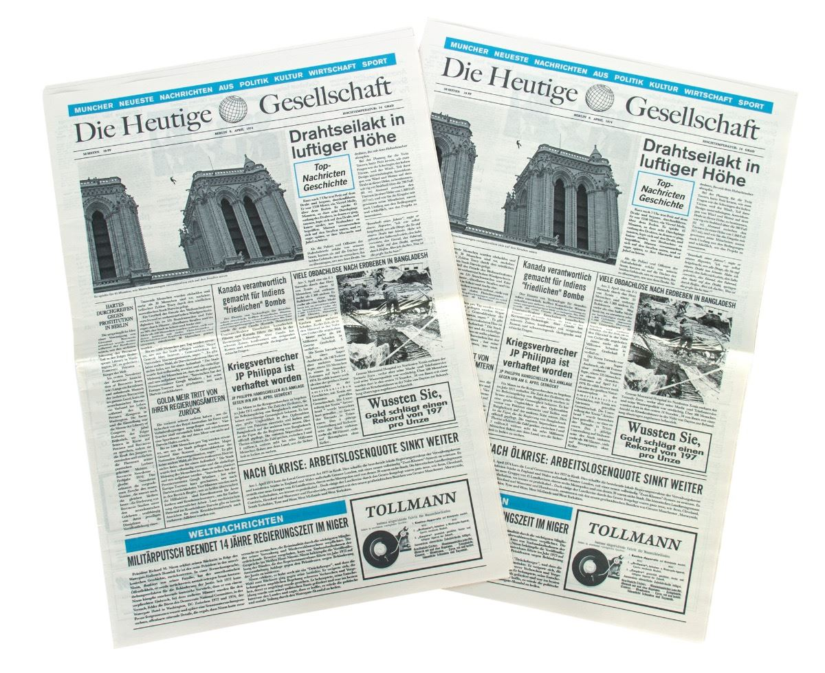 Collection of Newspapers Reporting on Philippe Petit\'s Notre Dame ...