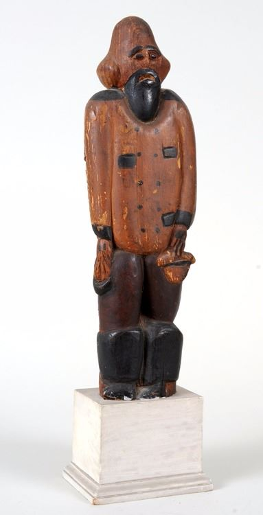 Early carved cherry wood sea captain from alaska quot h