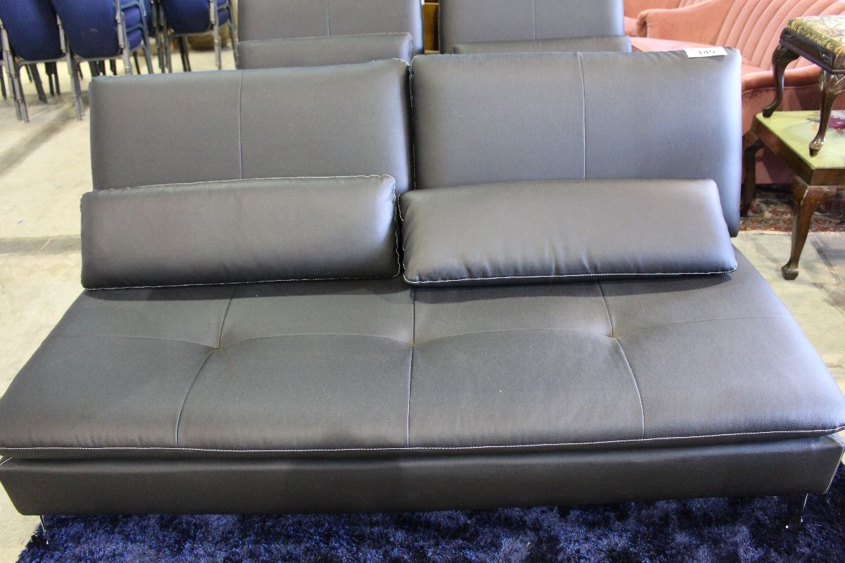 Throw Cushions On Bed : LEATHER FOLDING COUCH / BED WITH THROW CUSHIONS - Able Auctions