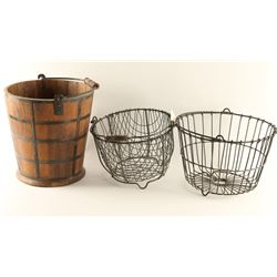 Wooden Bucket & Metal Egg Baskets