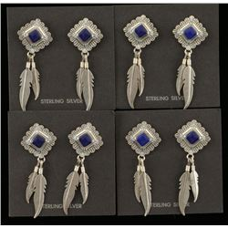 Lot of 4 Lapis & Sterling Silver Earrings