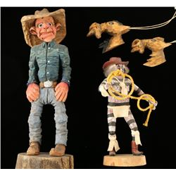 Cowboy Wood Carvings Lot