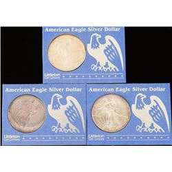 Lot of 3 American Eagle Silver Dollars