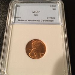 1944 Lincoln Cent NNC MS67 Red