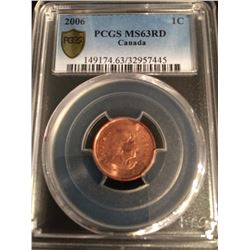 """2006 Canada 1 Cent - """"MAGNETIC"""" PCGS 63 RED"""