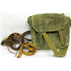BOX LOT MILITARY SATCHEL, SLINGS, AND POUCHES