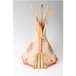 "Painted and Beaded Toy Teepee, 23"" tall"