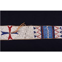 "Sioux Beaded Child's Blanket Strip on Trade Cloth, 42"" x 3"""