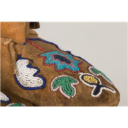 "Plateau Beaded Man's High-Cuff Moccasins, 10"" long"