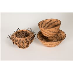 Papago Two-Tiered Basket together with Southern California Basket with Feathers