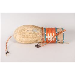 "Sioux Quilled and Beaded Bladder Bag, 11"" long x 3 ½"""
