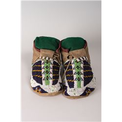 "Cheyenne Fully Beaded Man's Moccasins, 9 ½"" long"