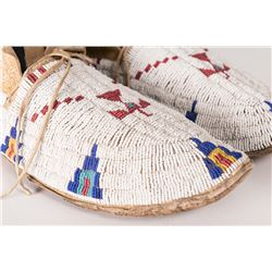 "Cheyenne Fully Beaded Man's Moccasins, 10"" long"