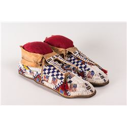 "Cheyenne Fully Beaded Man's Moccasins, 11 ¾"" long"