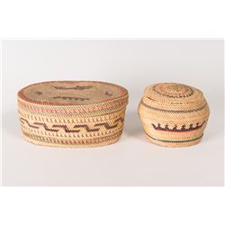 Two Makah Lidded Baskets
