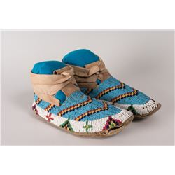 "Northern Plains High-cuff Beaded Man's Moccasins, 10"" long"