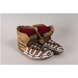 "Plateau High-cuff Beaded Man's Moccasins, 11"" long"
