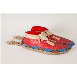 "Lakota Beaded and Quilled Man's Moccasins, 10 ½"" long"