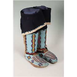 "Nez Perce Fully Beaded Woman's Hightop Moccasins with Leggings, 10"" long"